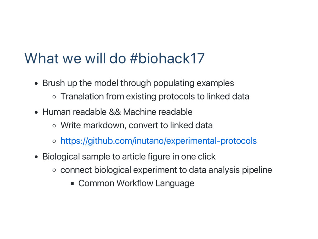What we will do #biohack17 Brush up the model t...