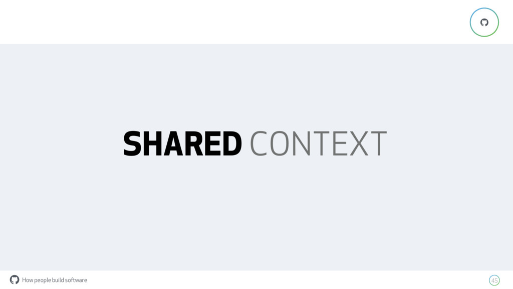How people build software ! 45 ! SHARED CONTEXT