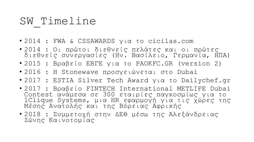 SW_Timeline • 2014 : FWA & CSSAWARDS για το cic...