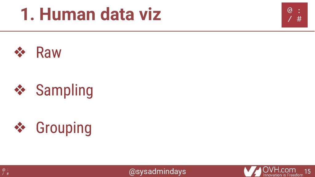 @sysadmindays @ : / # 1. Human data viz ❖ Raw ❖...