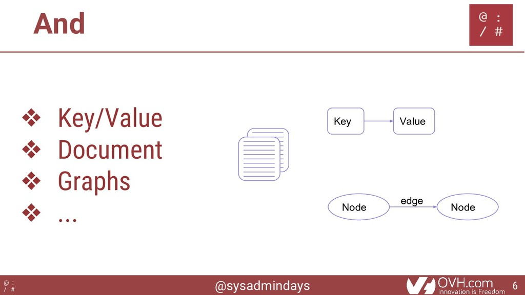 @sysadmindays @ : / # And ❖ Key/Value ❖ Documen...