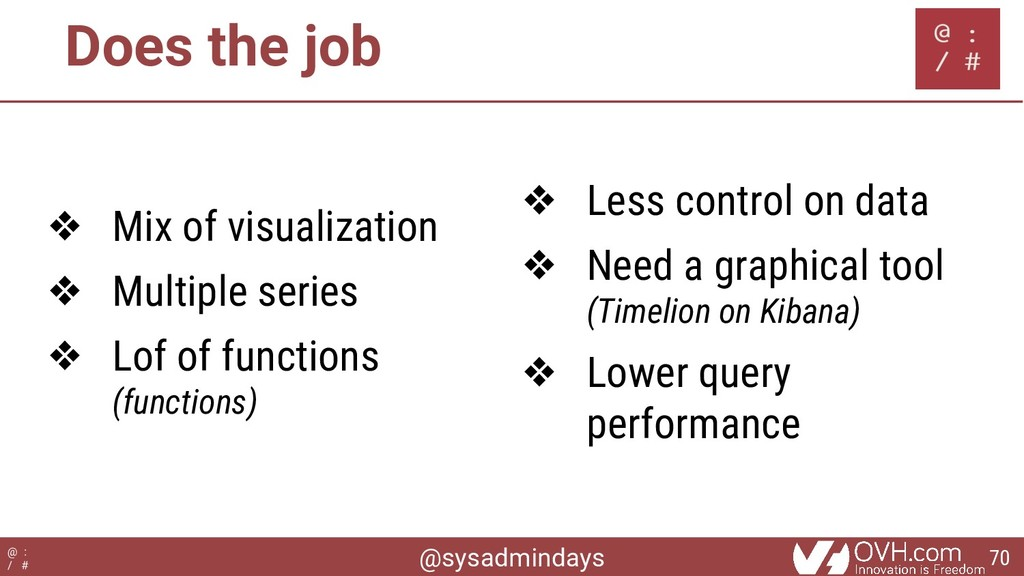 @sysadmindays @ : / # Does the job ❖ Mix of vis...