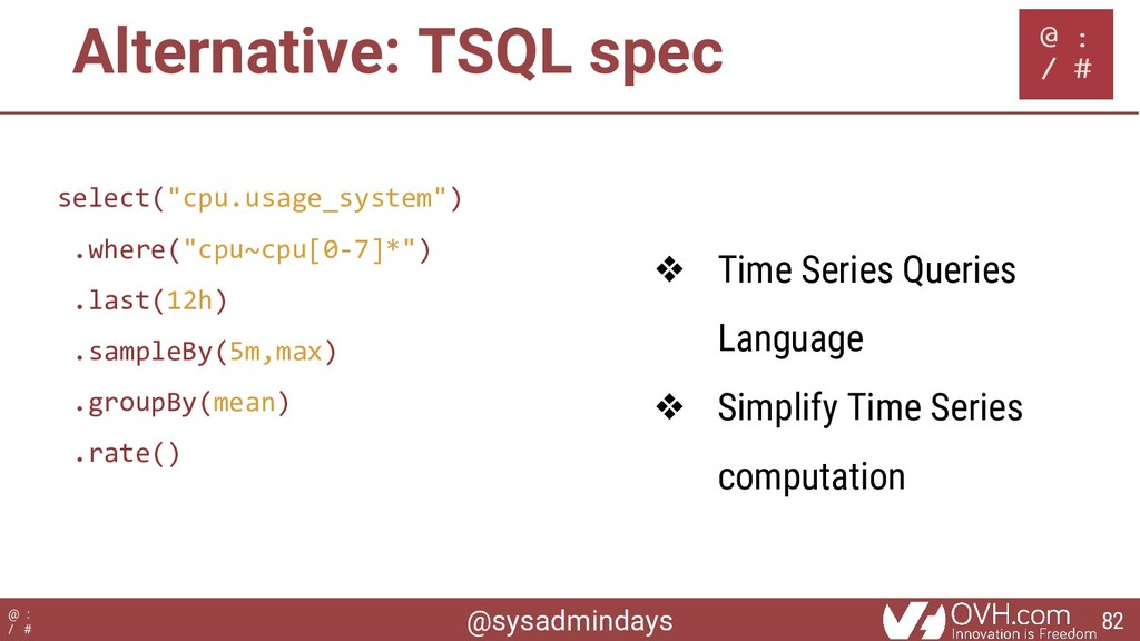 @sysadmindays @ : / # Alternative: TSQL spec se...