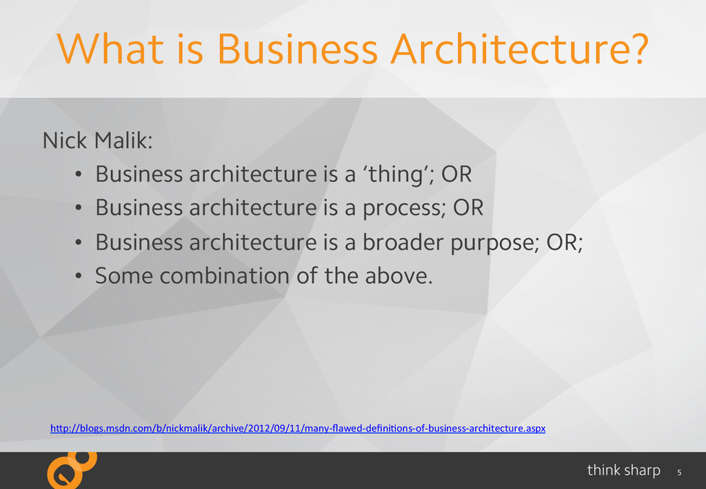 5 What is Business Architecture? Nick Malik: • ...