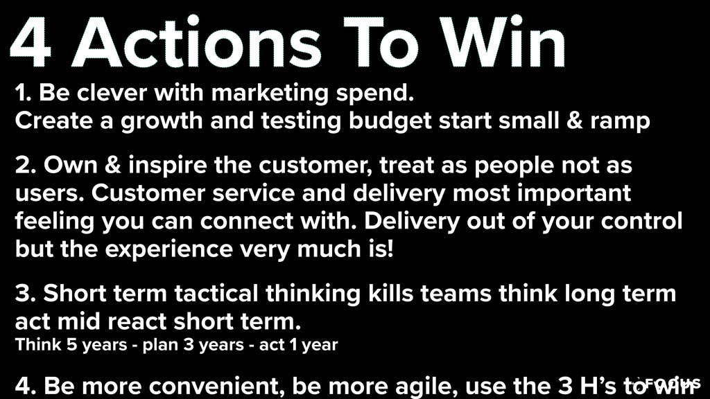 4 Actions To Win 1. Be clever with marketing sp...