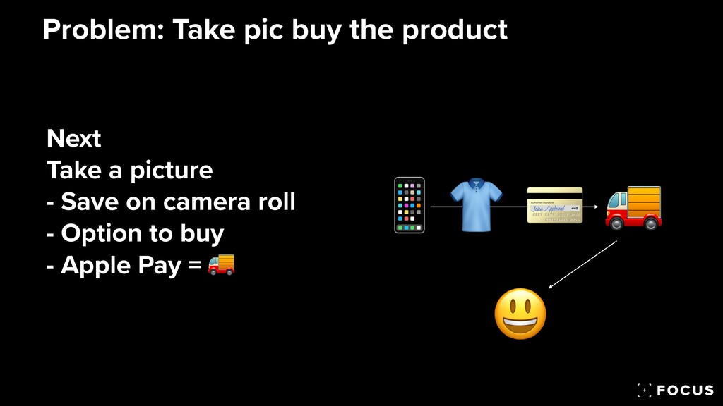Problem: Take pic buy the product 📱 👕 💳 Next   ...