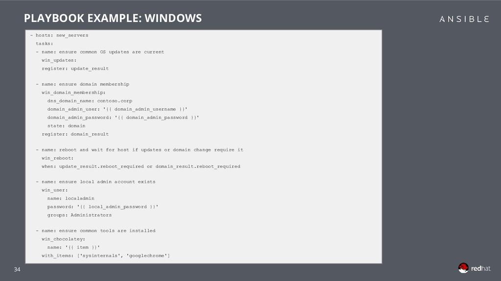 34 - hosts: new_servers tasks: - name: ensure c...