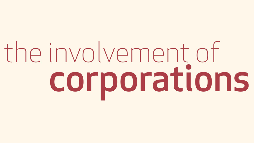 the involvement of corporations