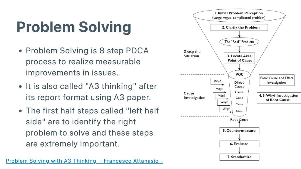 Problem Solving Problem Solving is 8 step PDCA ...
