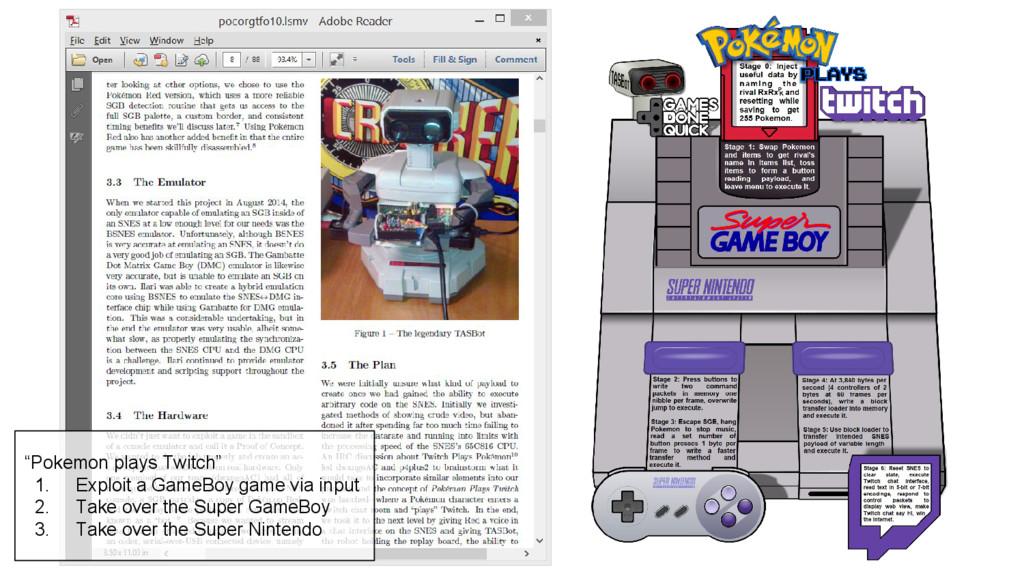 """Pokemon plays Twitch"" 1. Exploit a GameBoy gam..."
