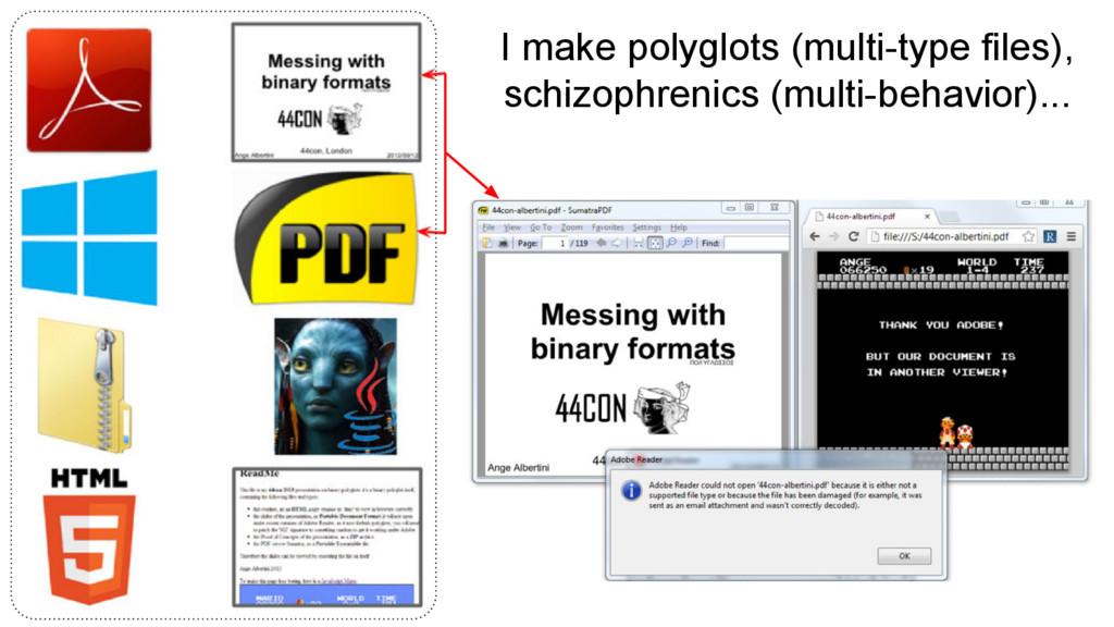 I make polyglots (multi-type files), schizophre...