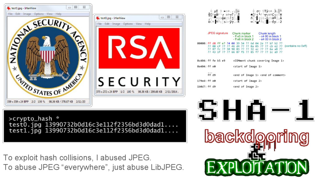 To exploit hash collisions, I abused JPEG. To a...
