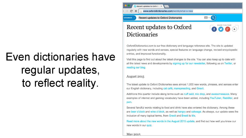 Even dictionaries have regular updates, to refl...