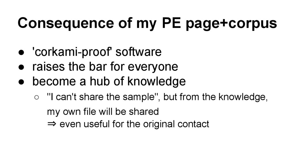 Consequence of my PE page+corpus ● 'corkami-pro...