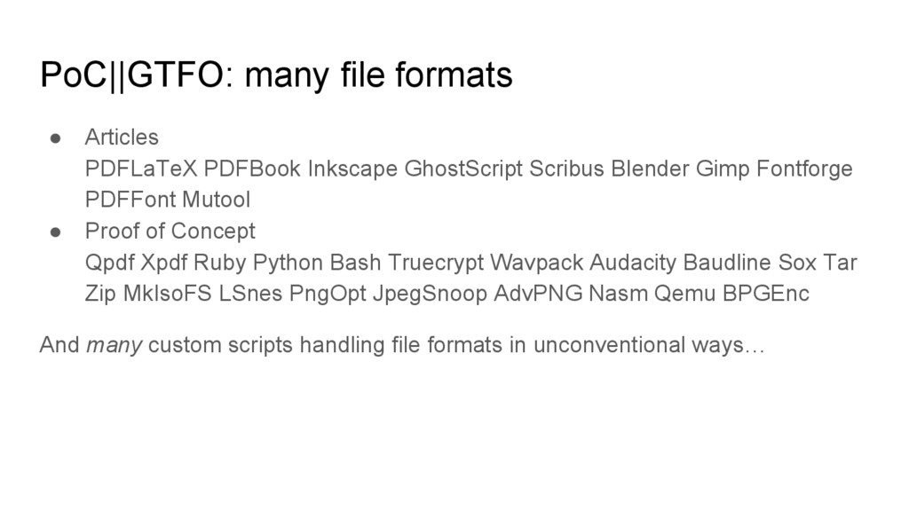 PoC||GTFO: many file formats ● Articles PDFLaTe...