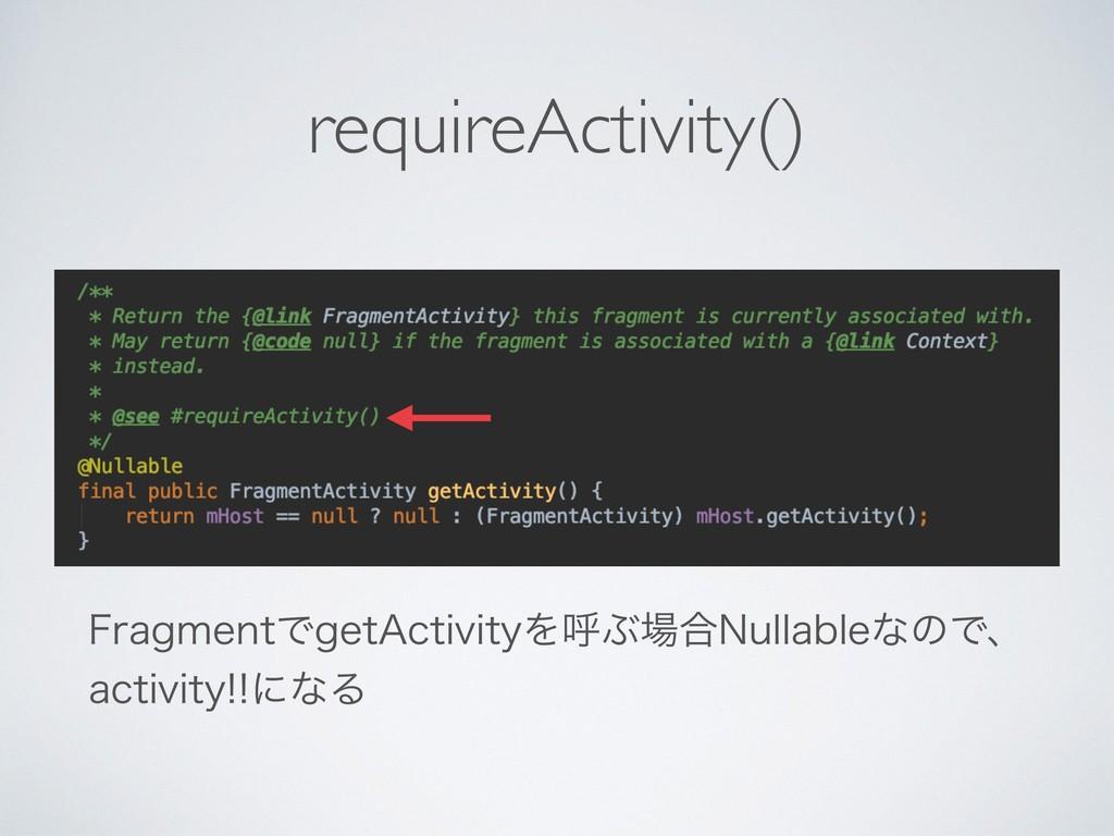 "requireActivity() 'SBHNFOUͰHFU""DUJWJUZΛݺͿ߹/VMM..."
