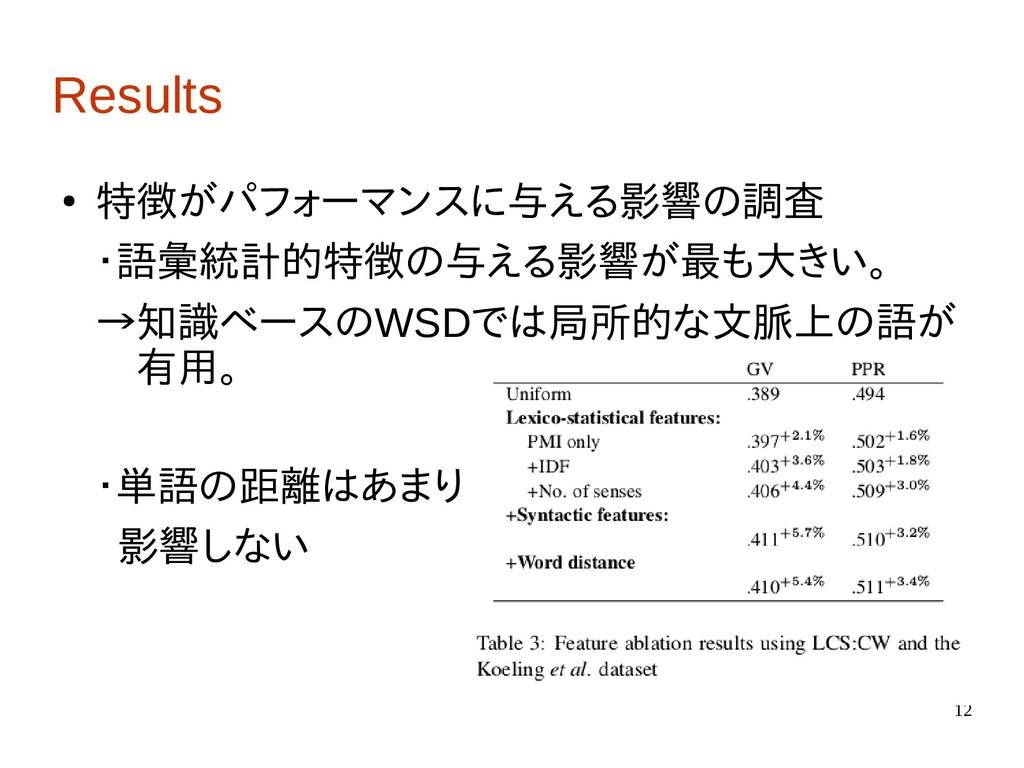 12 Results ● 特徴がパフォーマンスに与える影響の調査 ・語彙統計的特徴の与える影響...
