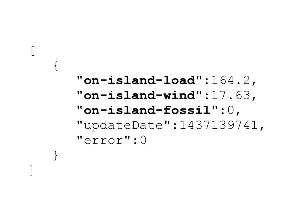 """[ { """"on-island-load"""":164.2, """"on-island-wind"""":17..."""