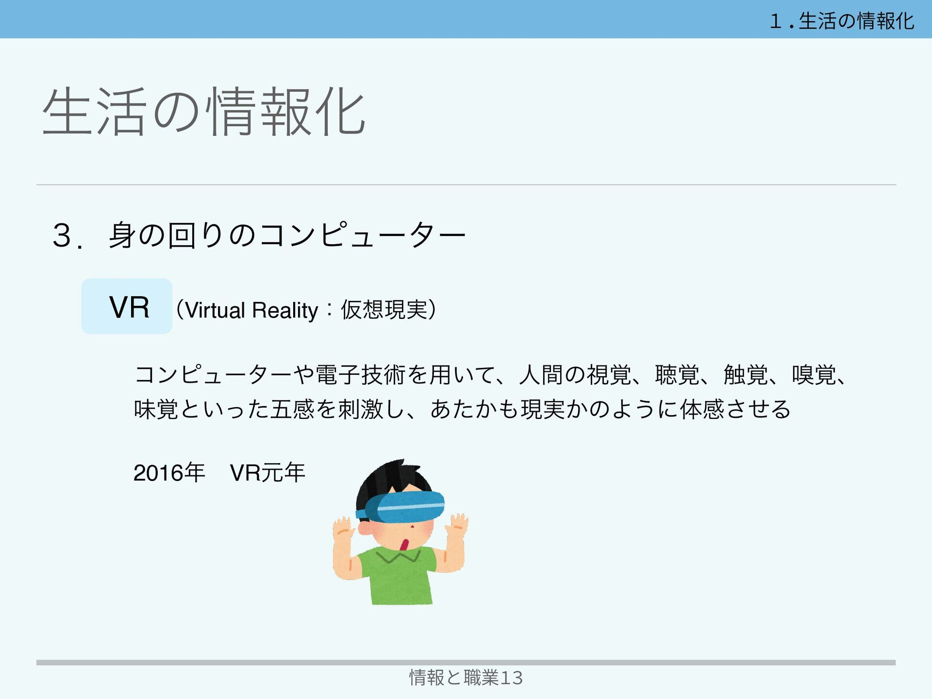 情報と職業13 ੜ׆ͷใԽ VR ʢVirtual RealityɿԾݱ࣮ʣ ίϯϐϡʔλ...