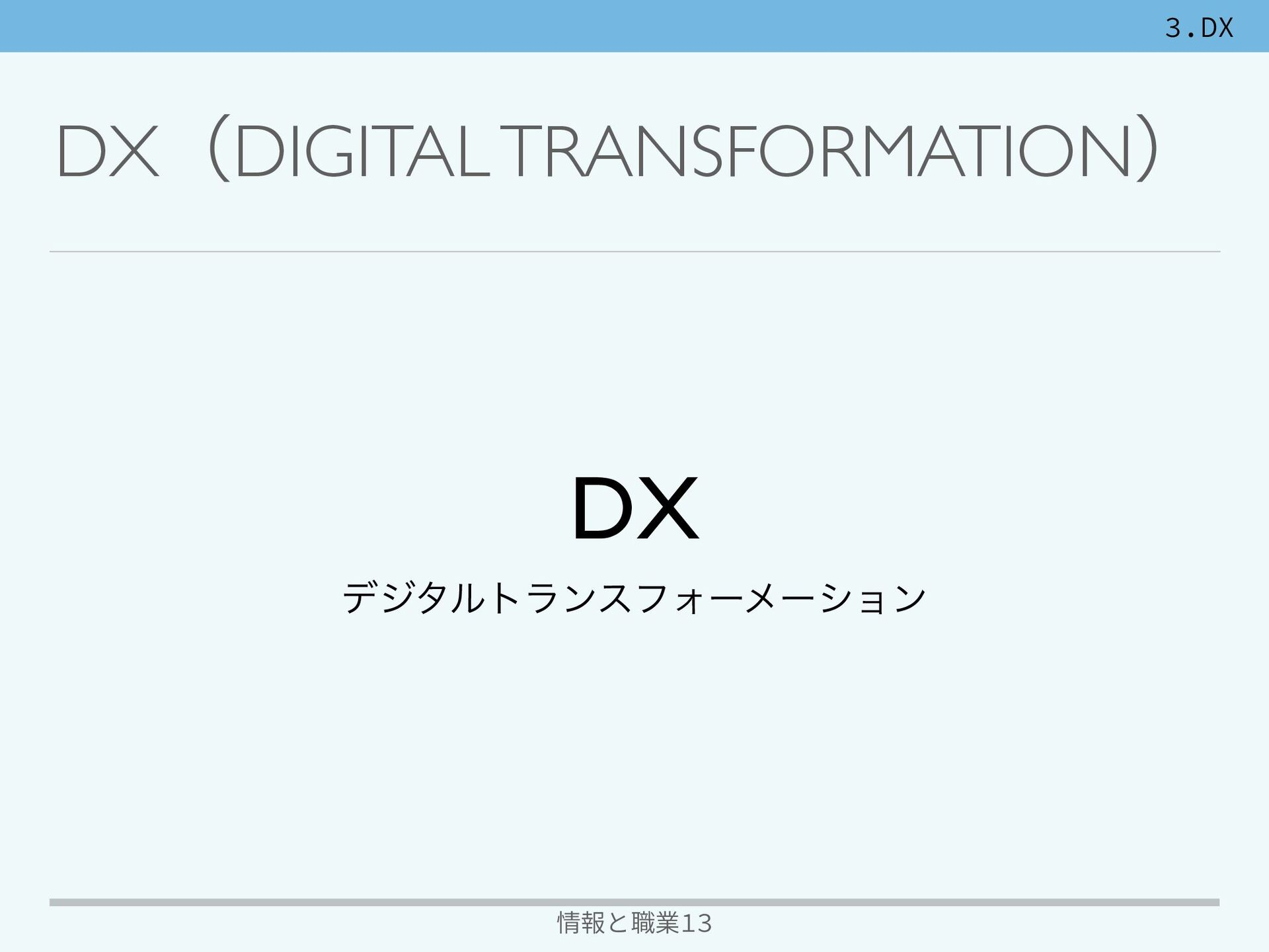 3.DX 情報と職業13 DXʢDIGITAL TRANSFORMATIONʣ D X  σδ...