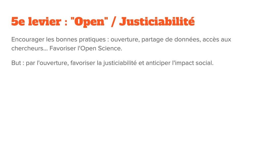 """5e levier : """"Open"""" / Justiciabilité"""
