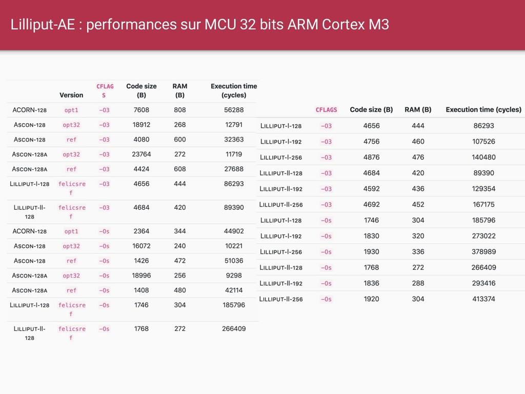 Lilliput-AE : performances sur MCU 32 bits ARM ...