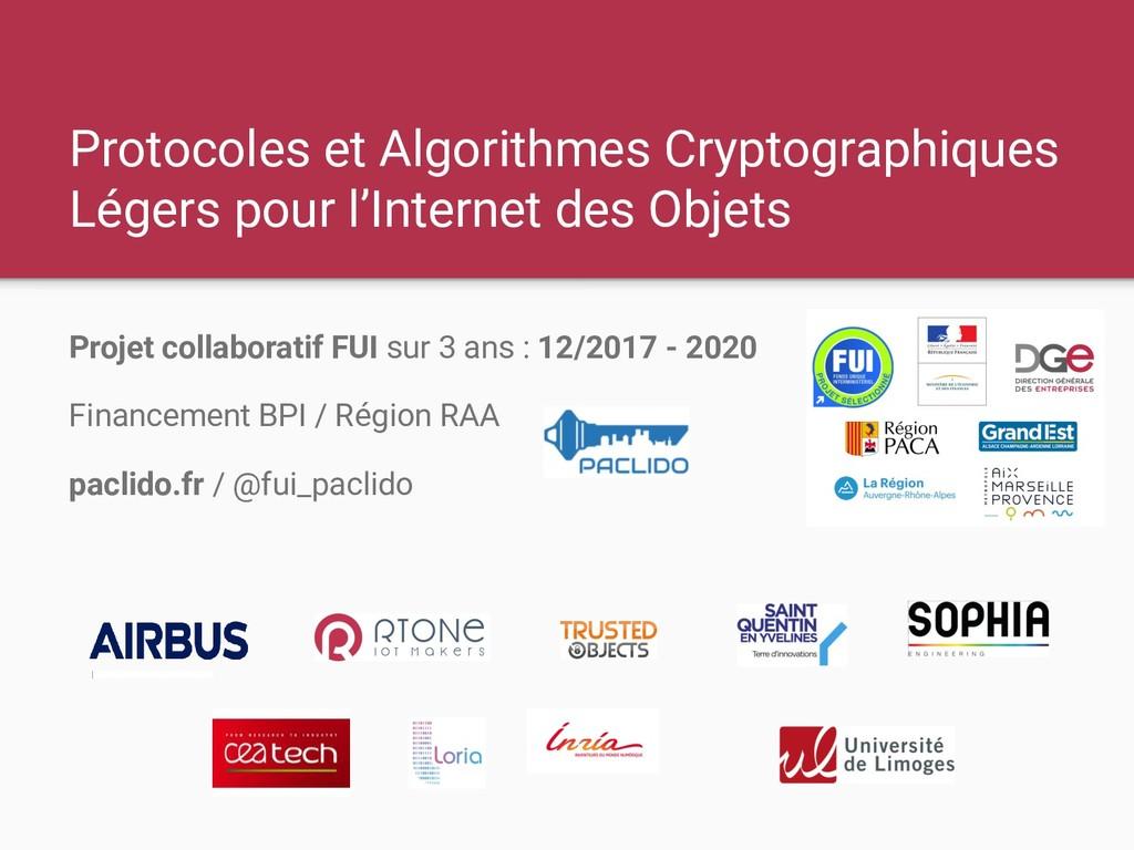Protocoles et Algorithmes Cryptographiques Lége...