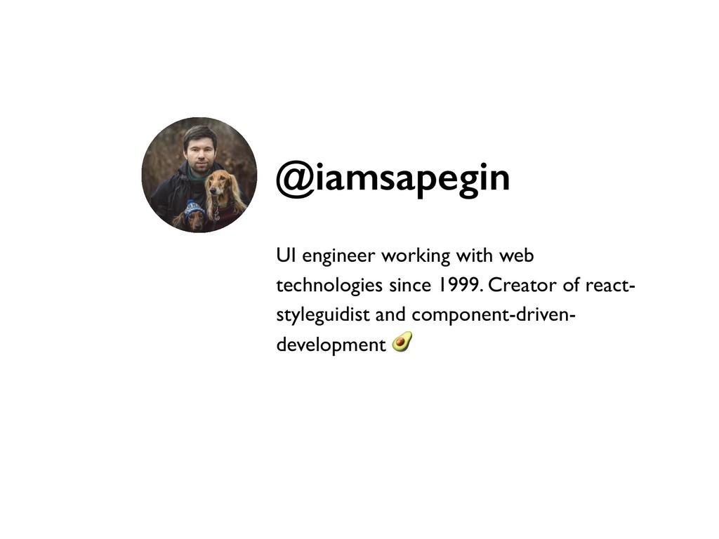 UI engineer working with web technologies since...