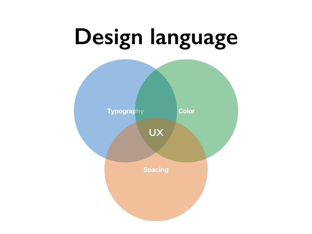 Design language Typography Color Spacing UX