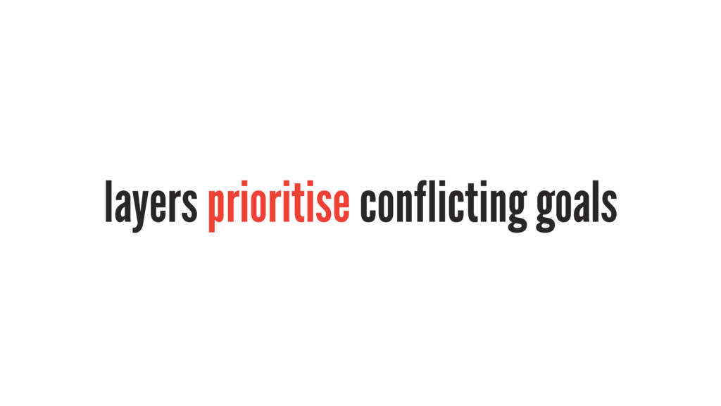 layers prioritise conflicting goals