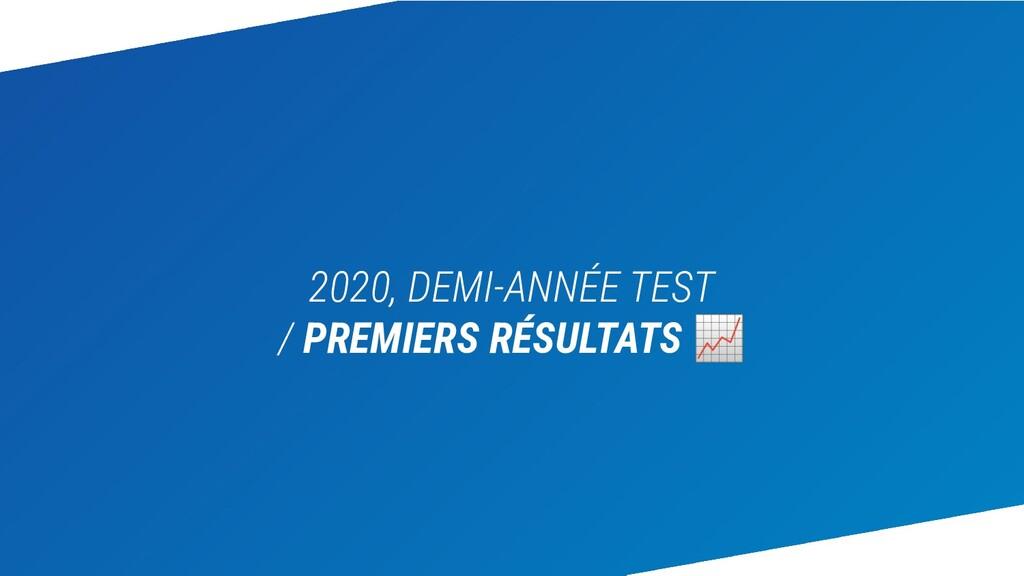 2020, DEMI-ANNÉE TEST / PREMIERS RÉSULTATS 📈