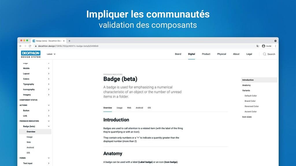 Impliquer les communautés validation des compos...