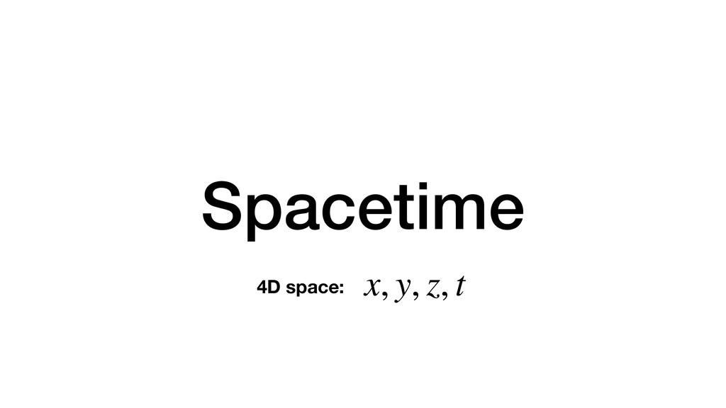 Spacetime x, y, z, t 4D space: