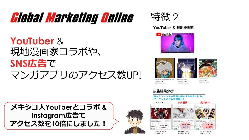 特徴 2 YouTuber & 現地漫画家コラボや、 SNS広告で マンガアプリのアクセス数U...