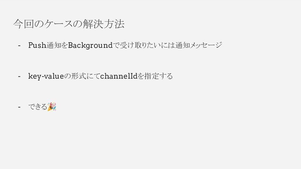 今回のケースの解決方法 - Push通知をBackgroundで受け取りたいには通知メッセージ...