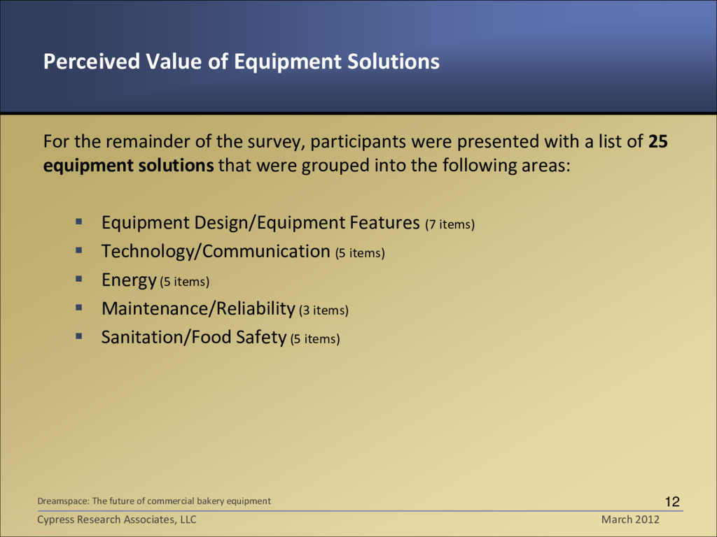 Perceived Value of Equipment Solutions For the ...