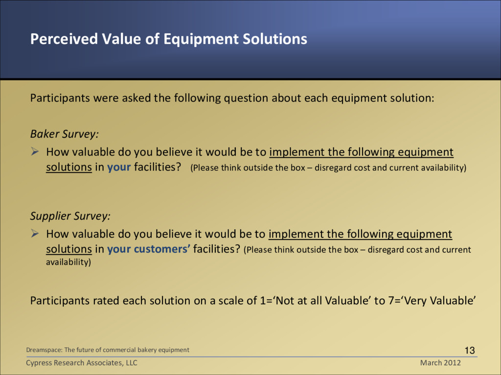 Perceived Value of Equipment Solutions Particip...