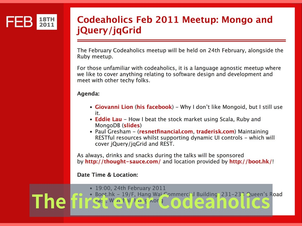The first ever Codeaholics
