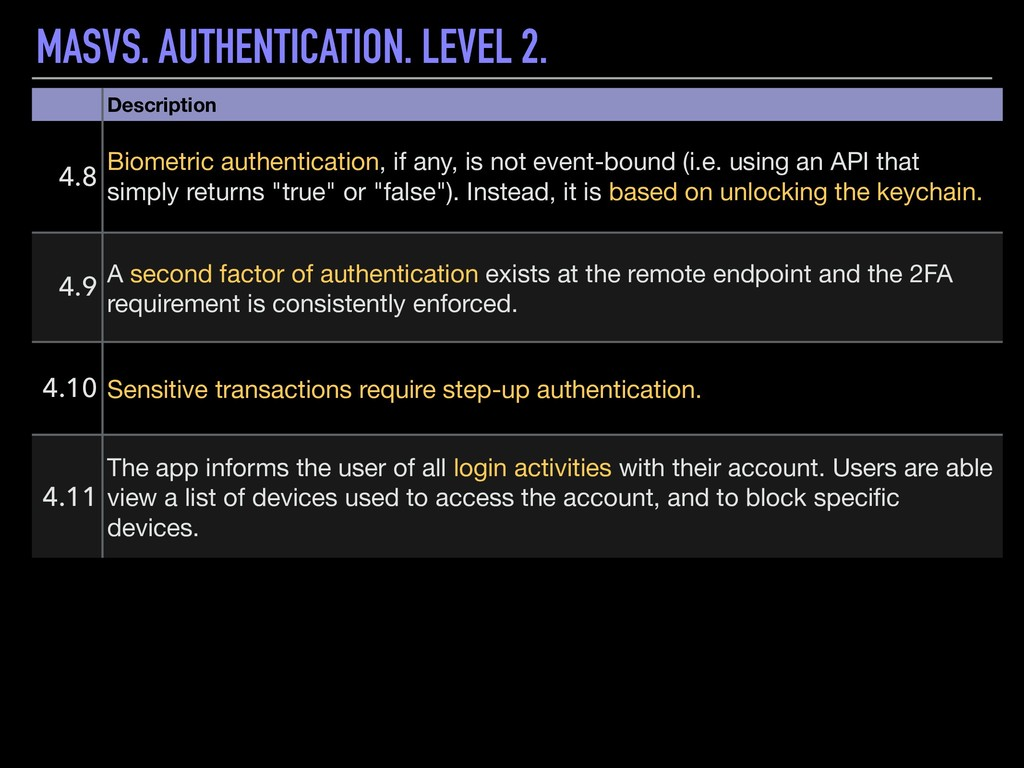 MASVS. AUTHENTICATION. LEVEL 2. Description 4.8...