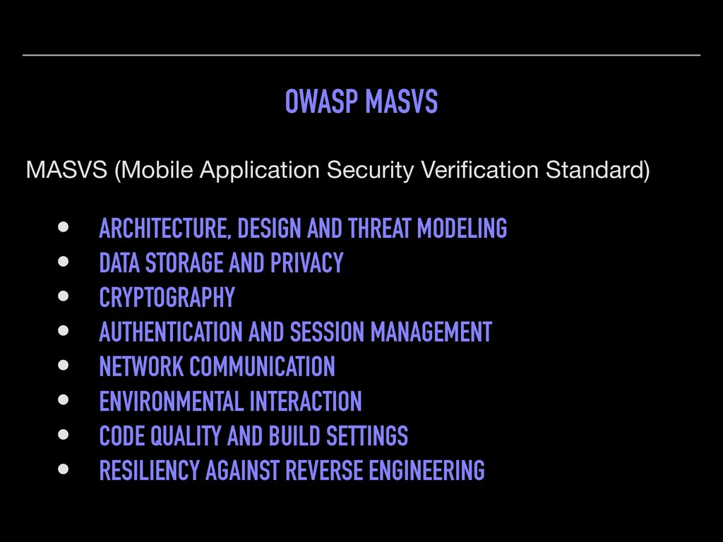 OWASP MASVS MASVS (Mobile Application Security ...