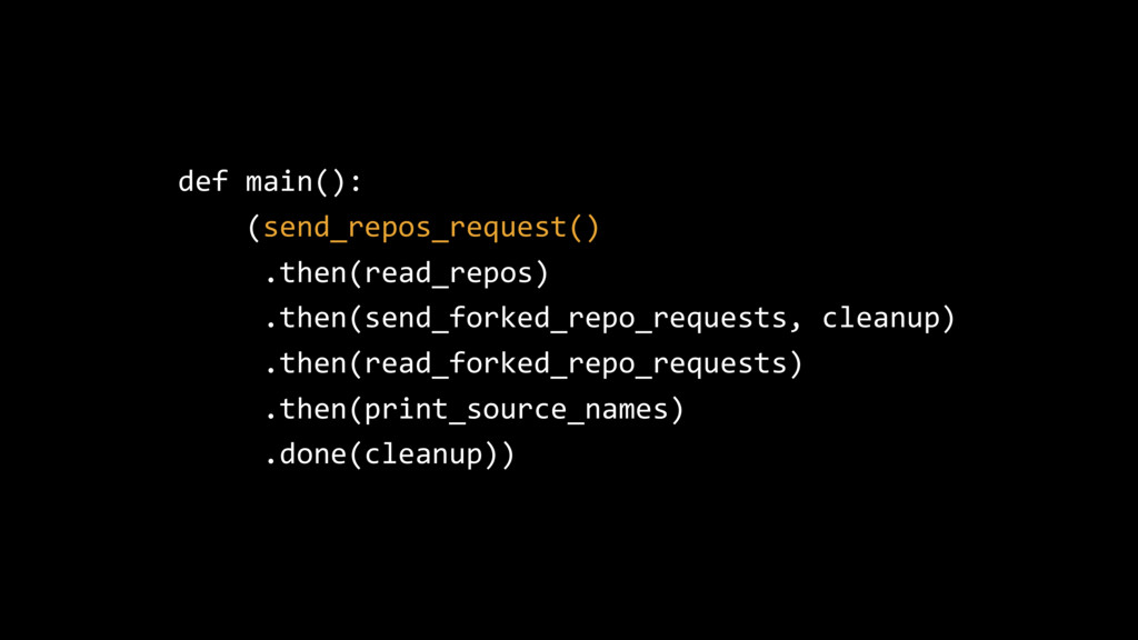 def main(): (send_repos_request() .then(read_re...
