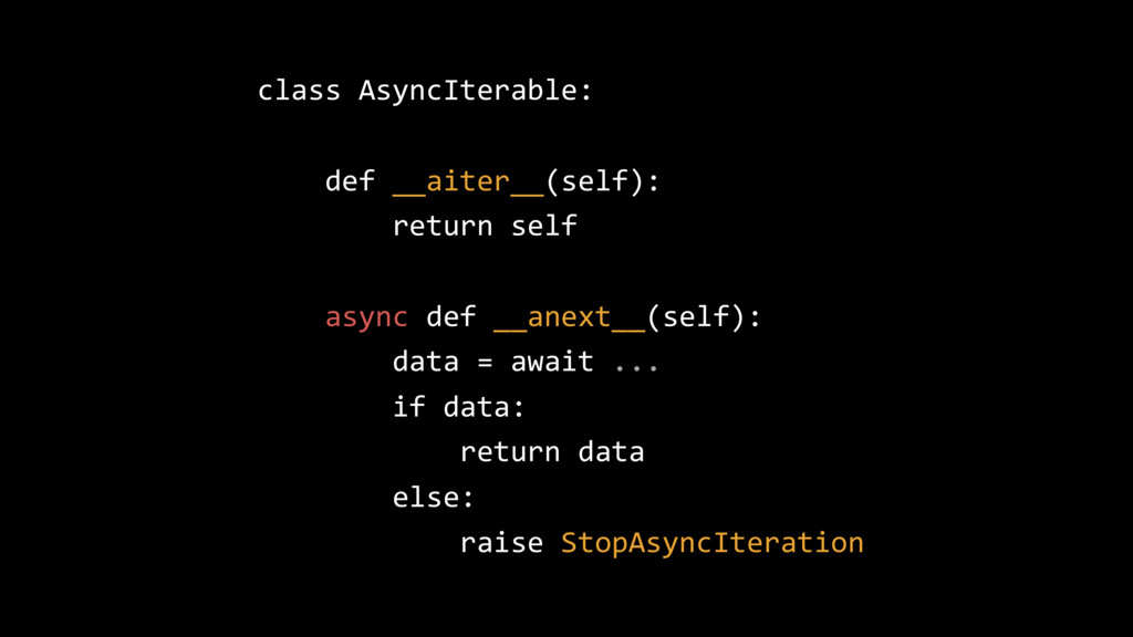 class AsyncIterable: def __aiter__(self): retur...