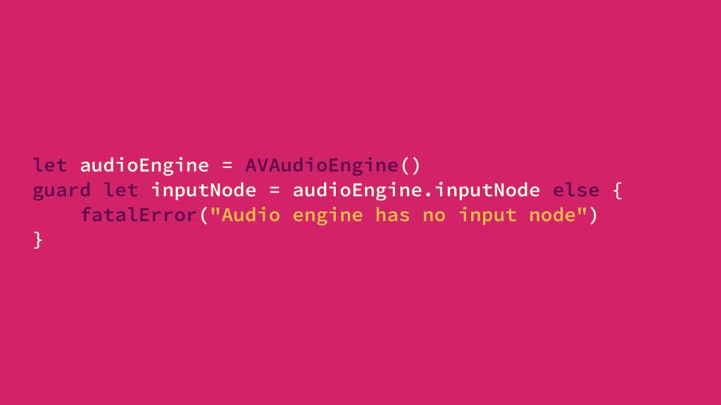 let audioEngine = AVAudioEngine() guard let inp...
