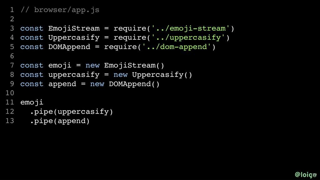 // browser/app.js const EmojiStream = require('...