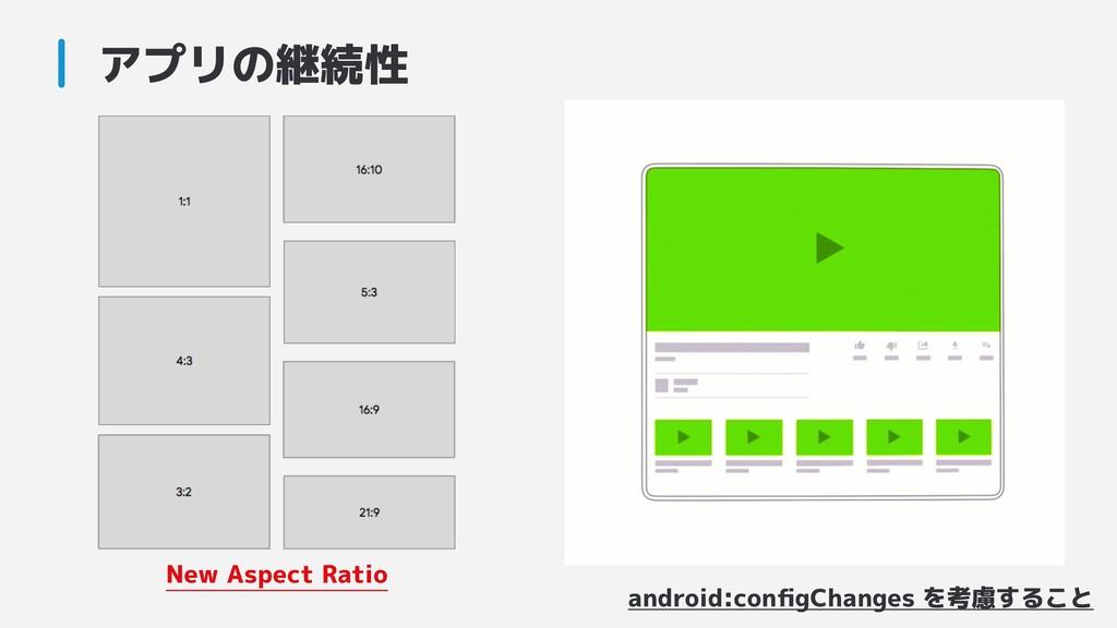 アプリの継続性 android:configChanges を考慮すること New Aspect...