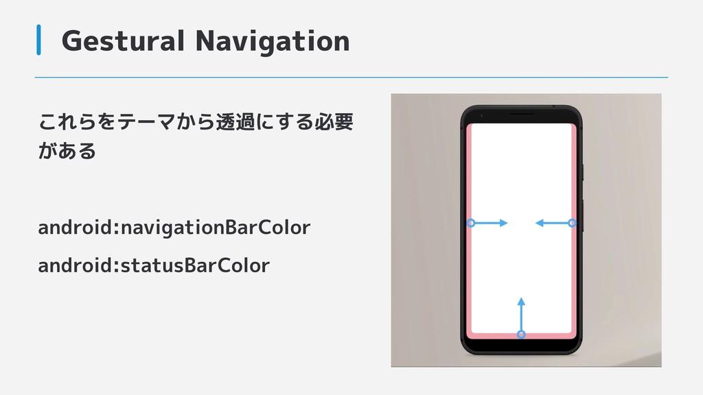 Gestural Navigation これらをテーマから透過にする必要 がある androi...