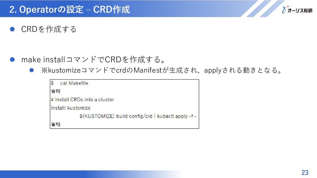 マスター タイトルの書式設定 2. Operatorの設定 – CRD作成 23  CRDを...