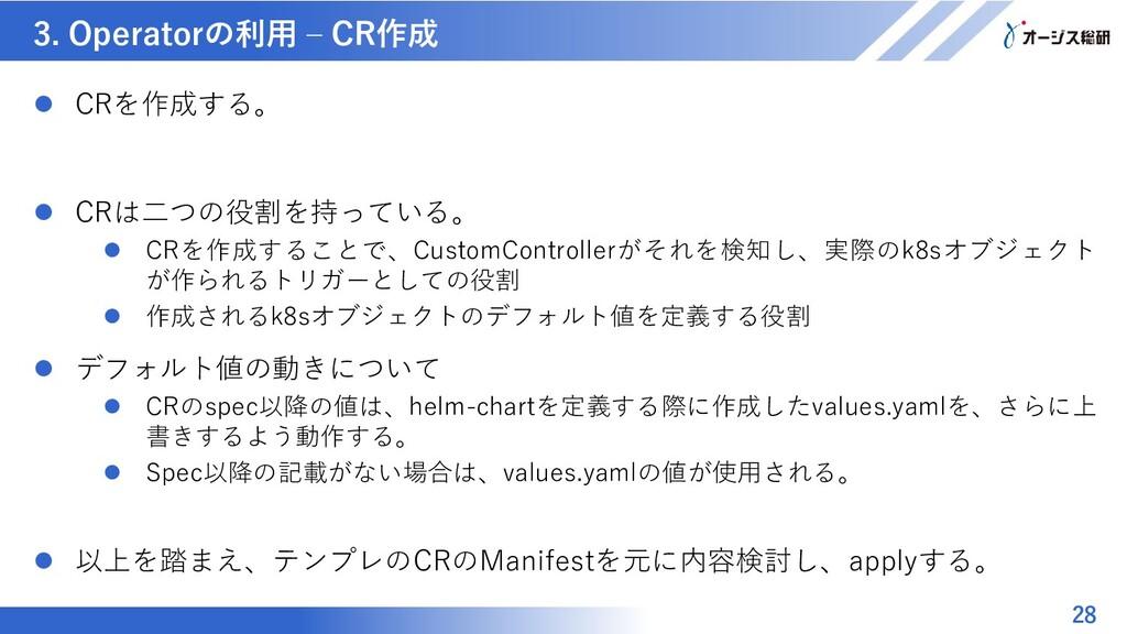 マスター タイトルの書式設定 3. Operatorの利用 – CR作成 28  CRを作成...