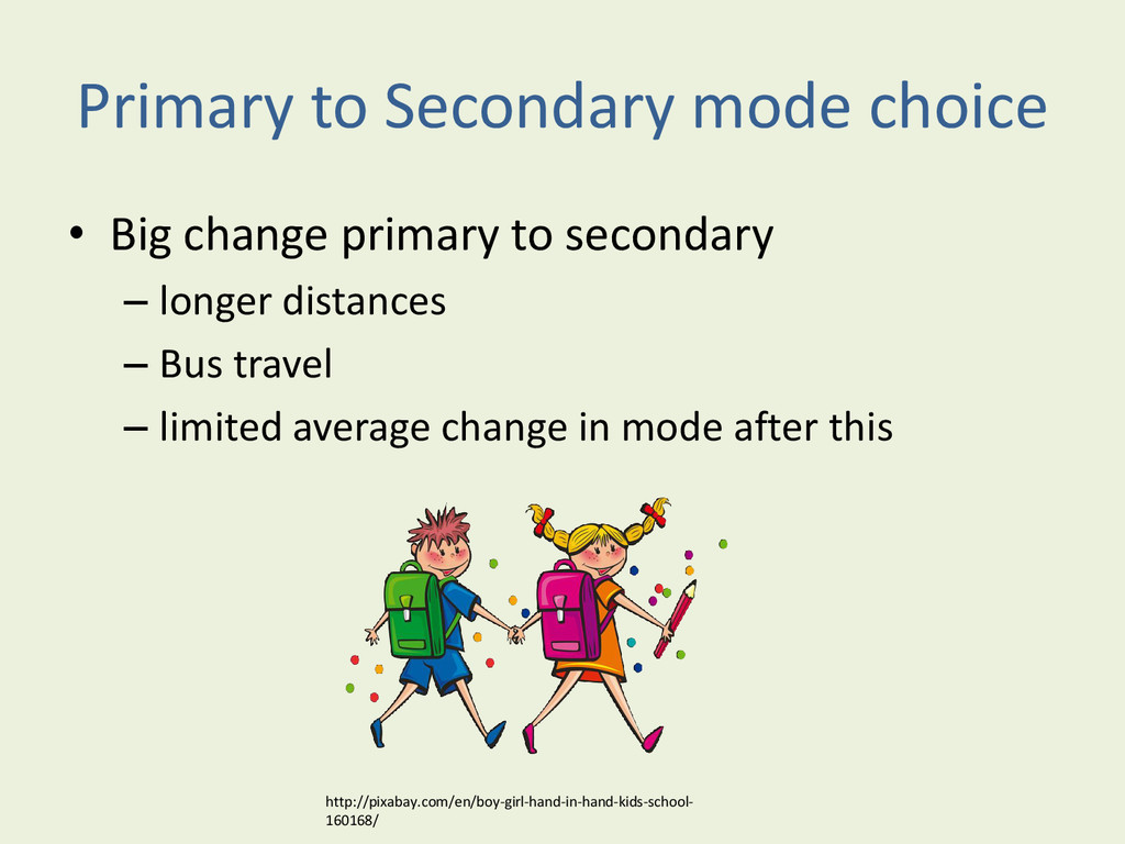 Primary to Secondary mode choice • Big change p...