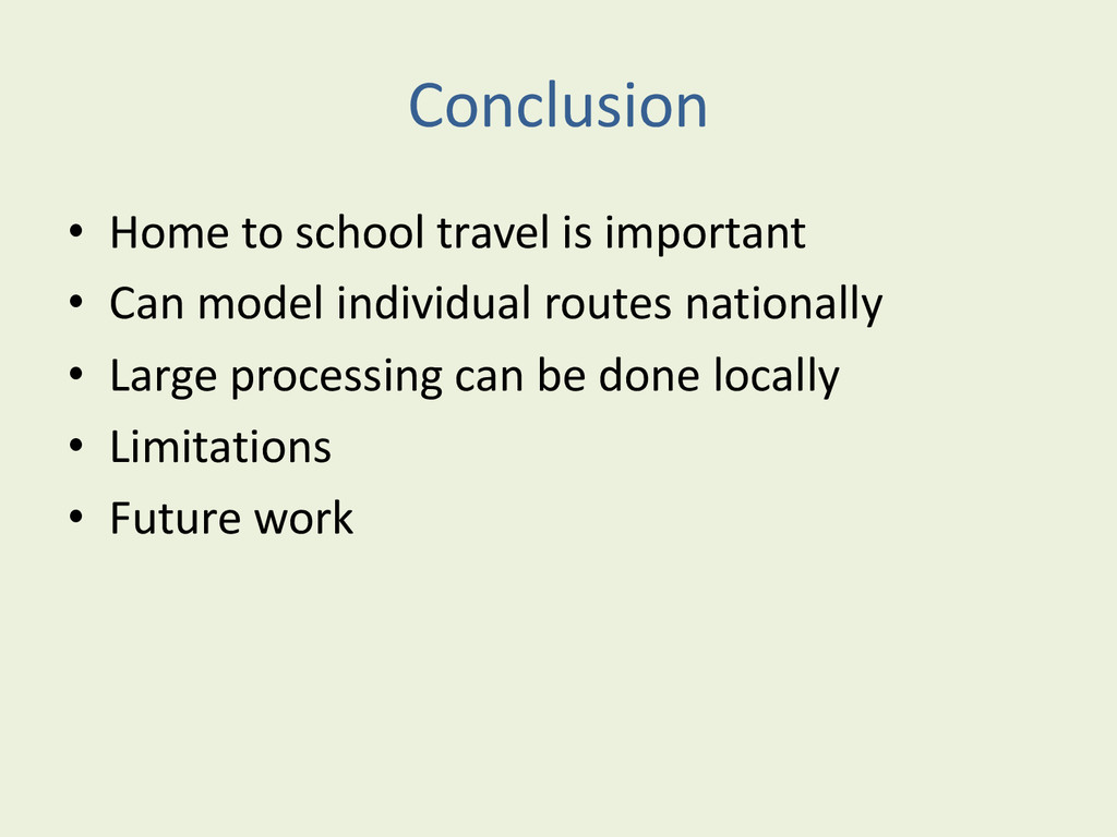 Conclusion • Home to school travel is important...